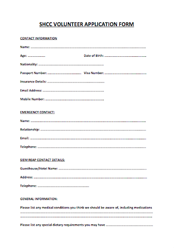 Volunteer Aplication Form